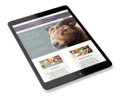 Kendal Wool Gathering website - tablet view