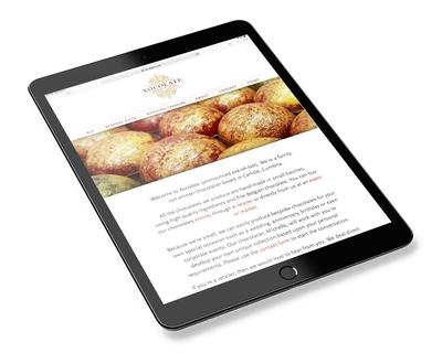 Xocolate website design - tablet